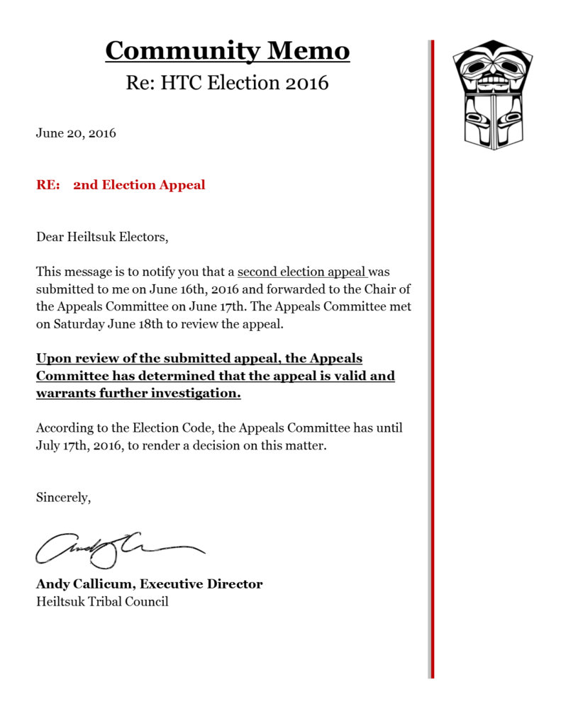 2nd Appeal Notice - Election 2016